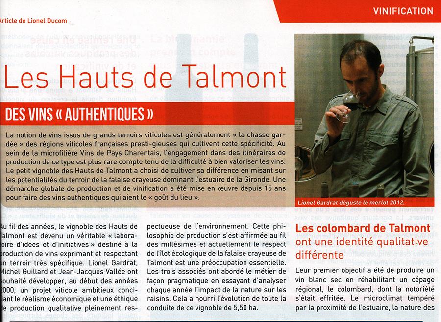 Article de Lionel Ducom dans Le Paysan Vigneron - Octobre 2014