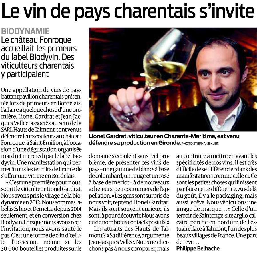 Le Vin de Pays Charentais s'invite